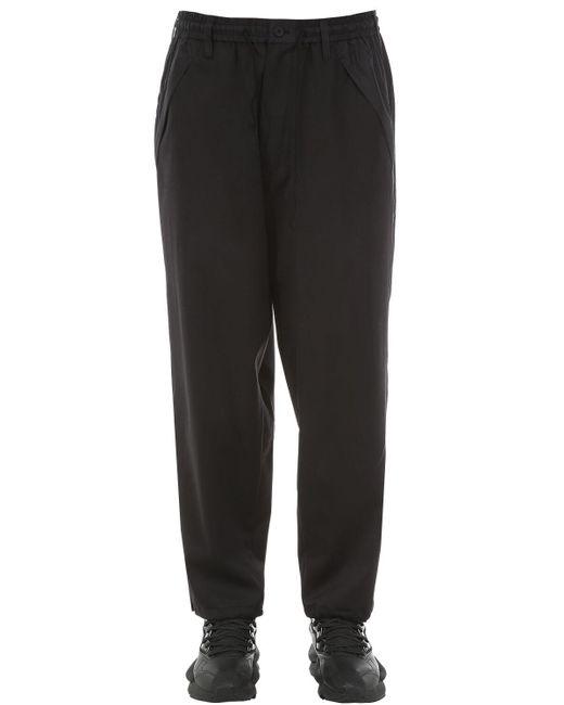 メンズ Y-3 ウール混クロップドパンツ Black