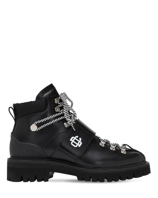 Кожаные Ботинки На Шнуровке 50мм DSquared² для него, цвет: Black