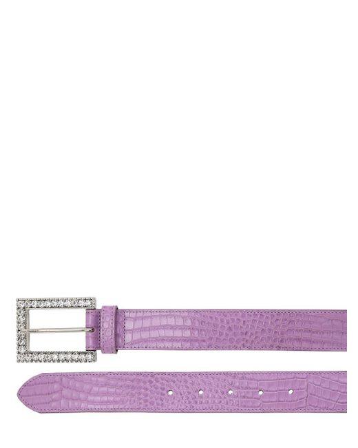 Alessandra Rich クロコエンボスレザーベルト 30mm Purple