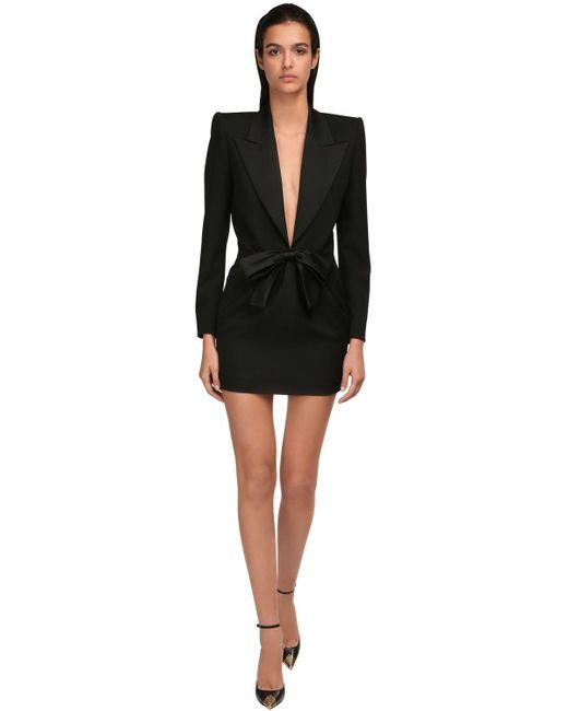 Платье Из Шерсти С Бантом Saint Laurent, цвет: Black