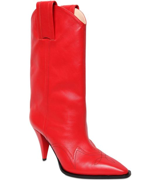 Nina Ricci 90mm レザーカウボーイブーツ Red