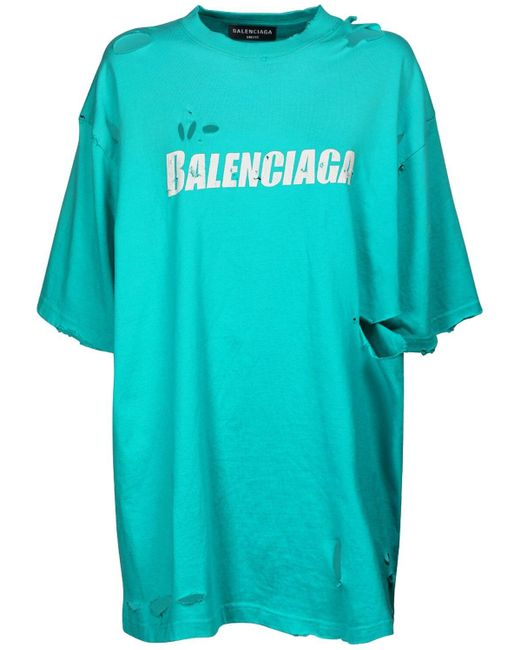 Balenciaga オーバーサイズオーガニックコットンジャージーtシャツ Blue