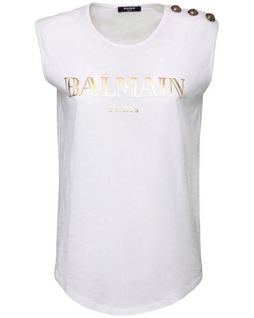 Balmain White Logo Cotton Jersey Sleeveless T-shirt