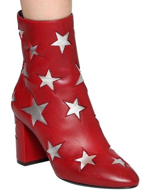 Saint Laurent Mica Star レザーアンクルブーツ 75mm Red
