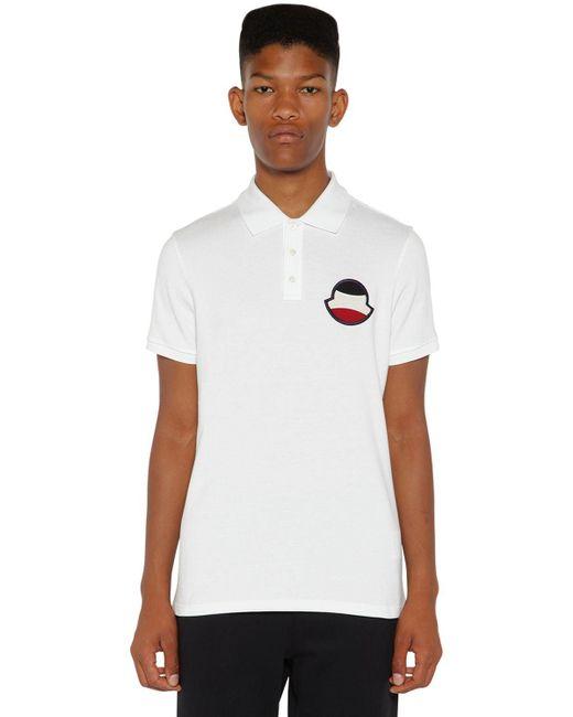 Moncler White Logo Cotton Piquet Polo for men