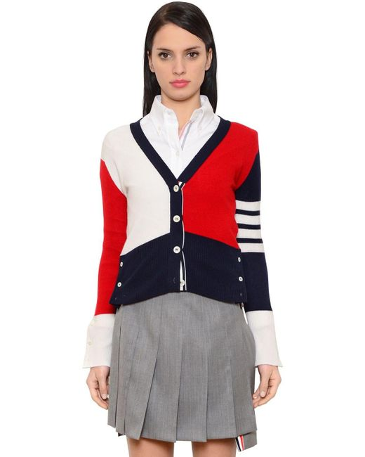 Thom Browne Red Color Blocked Cashmere Knit Cardigan