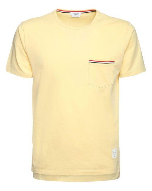 メンズ Thom Browne コットンジャージーtシャツ Yellow