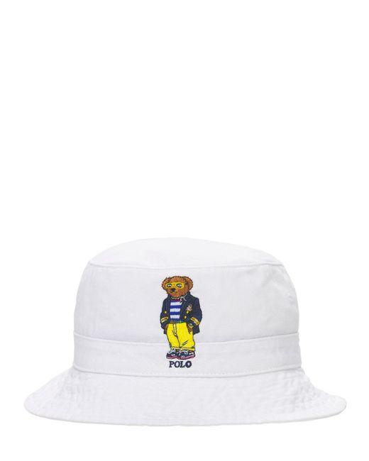 メンズ Polo Ralph Lauren Bear コットンバケットハット White