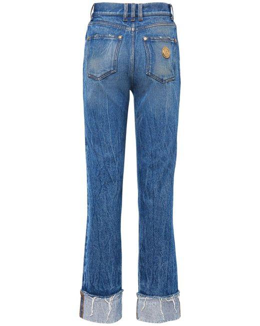 Balmain Blue Jeans Aus Baumwolldenim Mit Geradem Schnitt