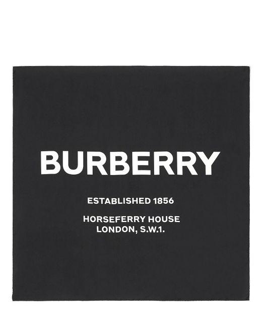 Burberry シルク ロゴプリントスカーフ Black