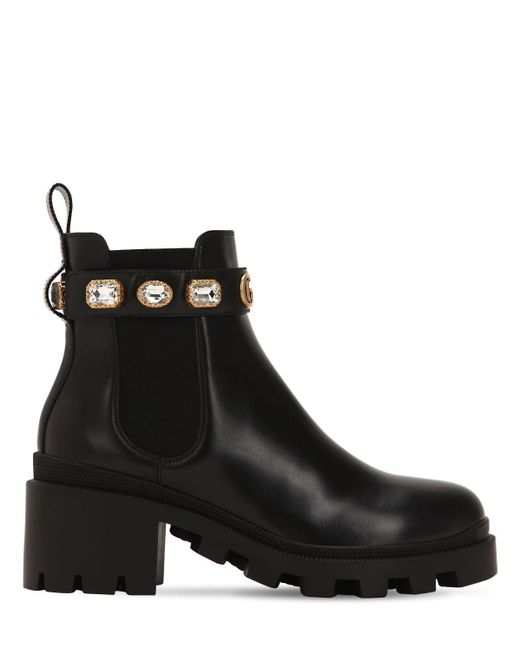 Gucci Black Leather Ankle Boot With Belt