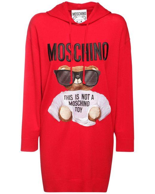 Moschino Bear コットンニットドレス Red