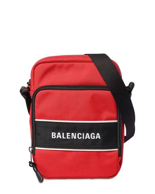メンズ Balenciaga ナイロンクロスボディバッグ Red