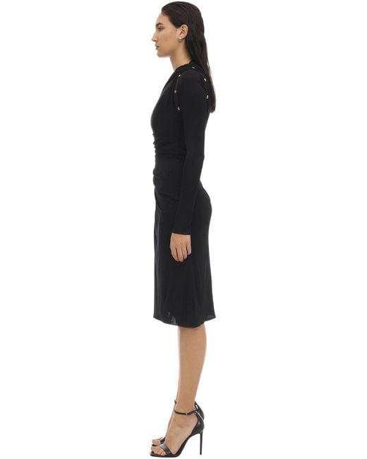Versace シャイニービスコースジャージーミディドレス Black