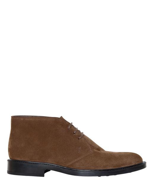 Tod's - Brown Suede Leather Lace-up Shoes for Men - Lyst