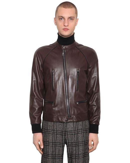 """Кожаная Куртка """"pongé"""" Dolce & Gabbana для него, цвет: Brown"""