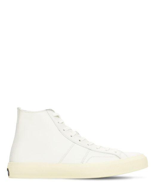 Высокие Кожаные Кроссовки Tom Ford для него, цвет: White