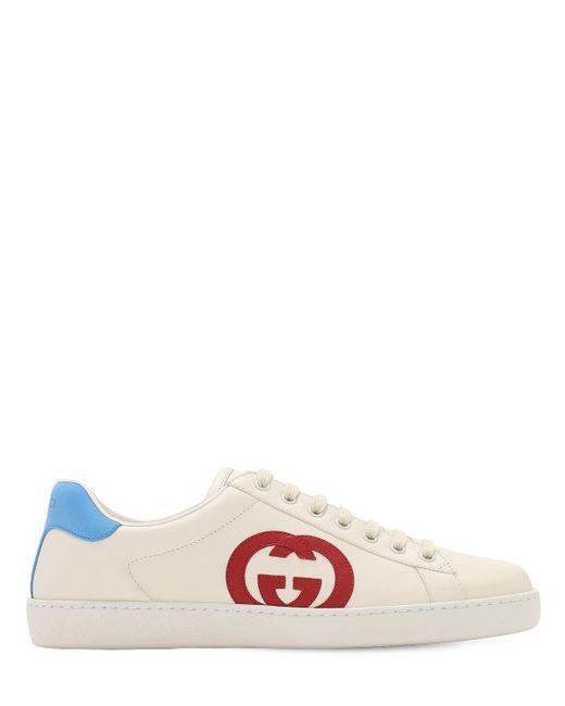 Кеды Ace С Нашивкой Interlocking G Gucci для него, цвет: White