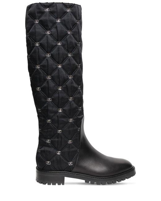 Высокие Кожаные Сапоги 25mm Alberta Ferretti, цвет: Black