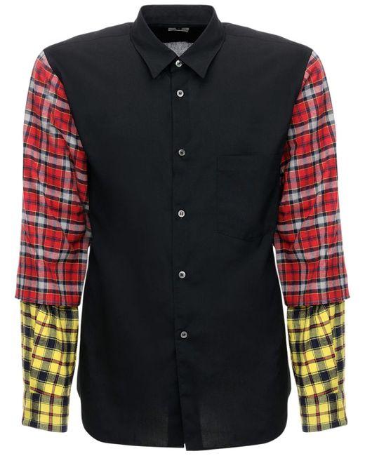 メンズ Comme des Garçons パッチワークテック&コットンシャツ Black