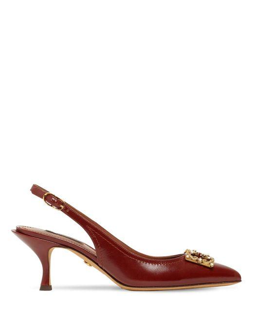 Dolce & Gabbana レザースリングバックパンプス 60mm Brown