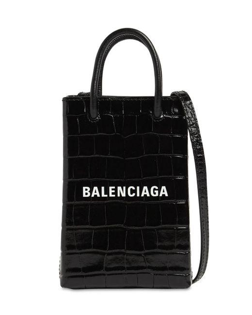 Balenciaga Shopping エンボスレザースマートフォンホルダーバッグ Black