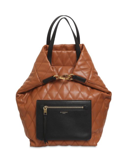 311a1c7fd67a ... Givenchy - Brown Small Duo Quilted Backpack - Lyst ...