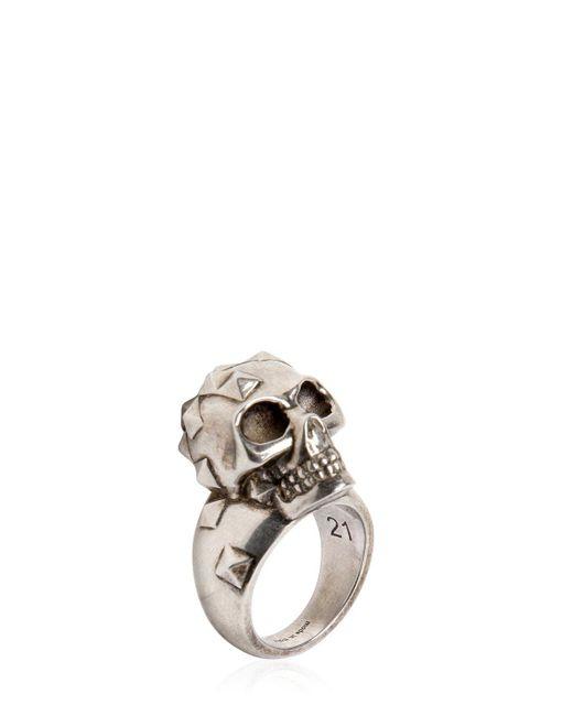 Alexander McQueen - Metallic Studded Skull Ring for Men - Lyst