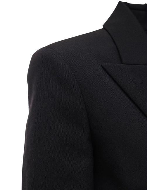Balmain Black Grain De Poudre Double Breasted Blazer