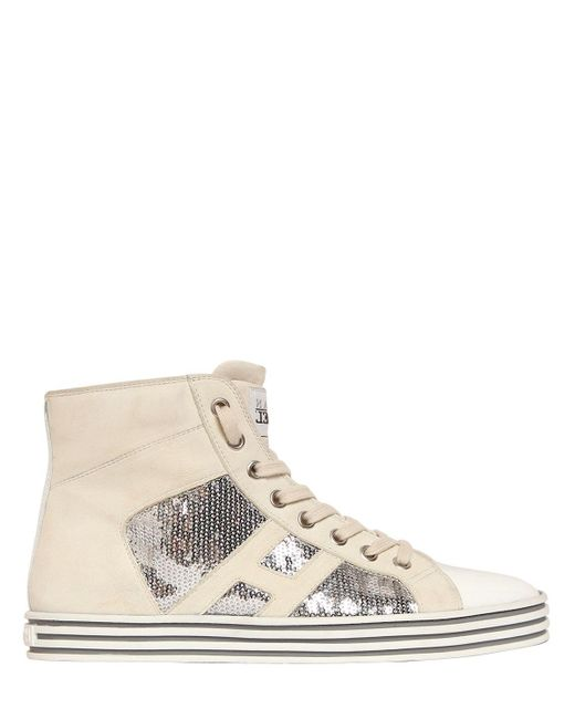 Hogan Rebel | White 20mm Sequined Suede Sneakers for Men | Lyst