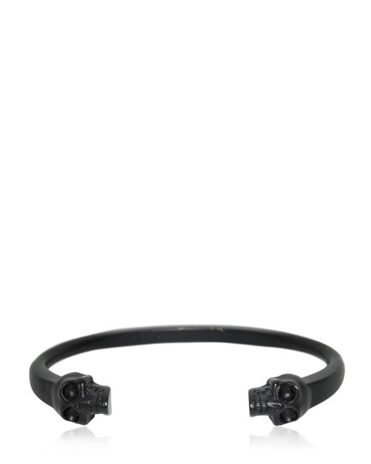 Alexander McQueen | Black Twin Skulls Enameled Bracelet for Men | Lyst