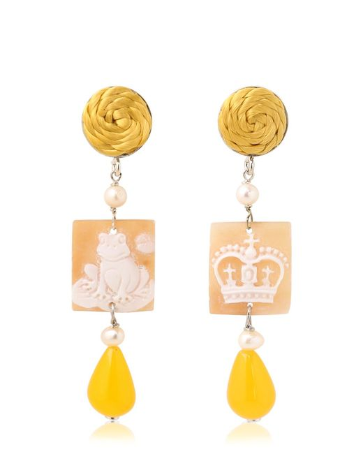 Anna E Alex   Yellow Frog & Crown Cameo Earrings   Lyst
