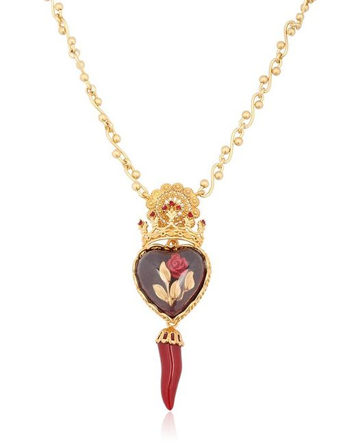 Dolce & Gabbana | Metallic Sacred Heart & Rose Necklace | Lyst