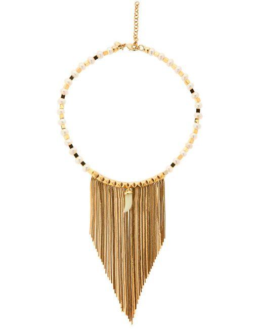 Iosselliani - Metallic Fringed Pearl & Jade Necklace - Lyst
