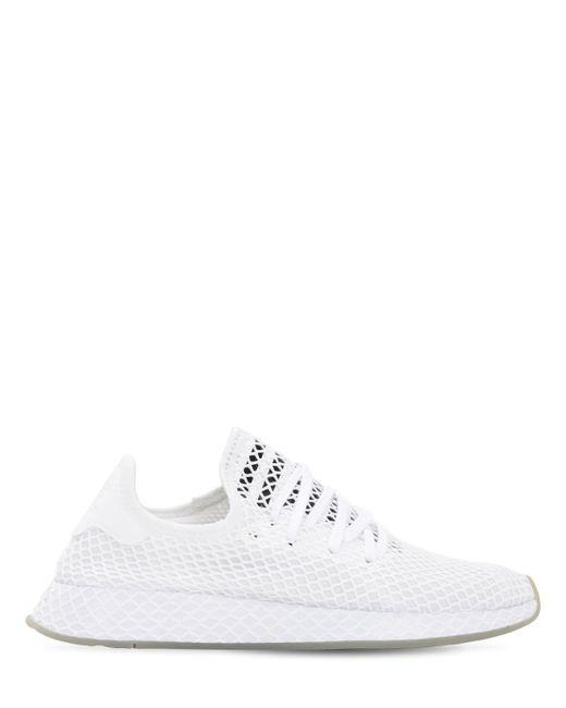 Adidas Originals Deerupt メッシュソックススニーカー White