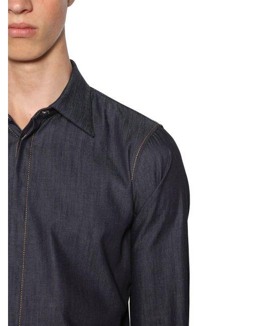 メンズ DSquared² Slim Fitリラックスコットンデニムシャツ Blue