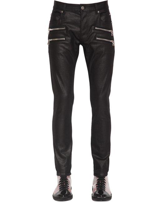メンズ Balmain ワックスドコットンデニムジーンズ 15cm Black