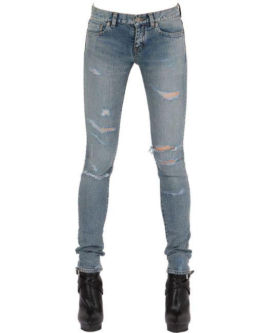 Saint Laurent   Blue 15cm Super Destroyed Stretch Denim Jeans   Lyst