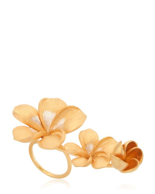 Jade Jagger | Metallic Frangipani Flower Ring | Lyst