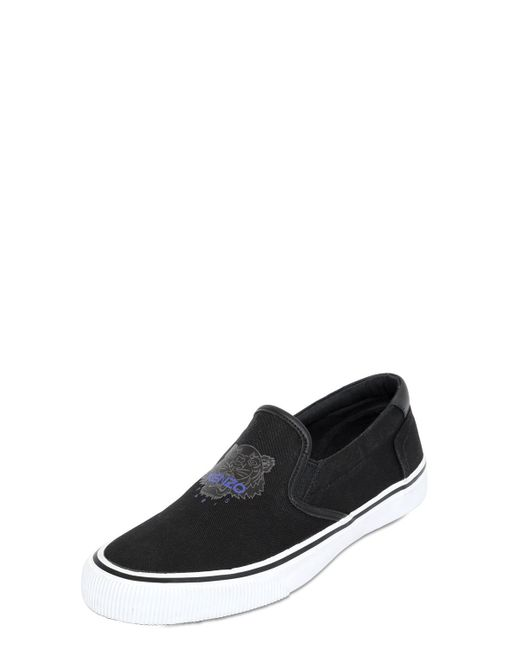 KENZO | Black Tiger Cotton Canvas Slip-on Sneakers | Lyst