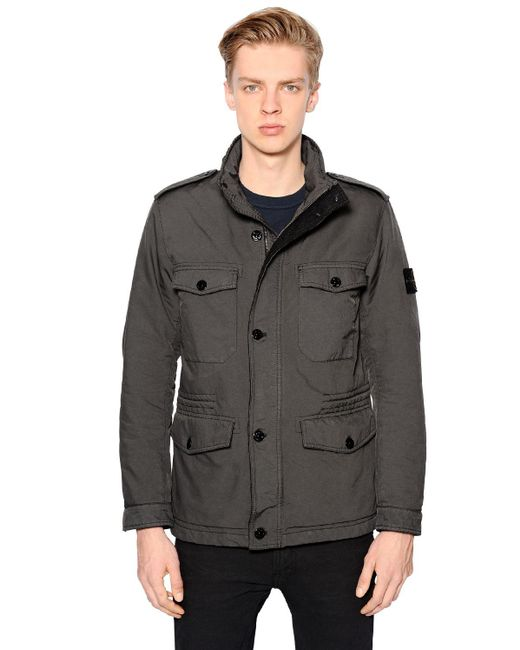 Stone Island | Green Padded Coated David Tc Field Jacket for Men | Lyst