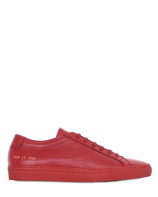 Common Projects | Red Achilles Original Leather Low-Top Sneakers | Lyst