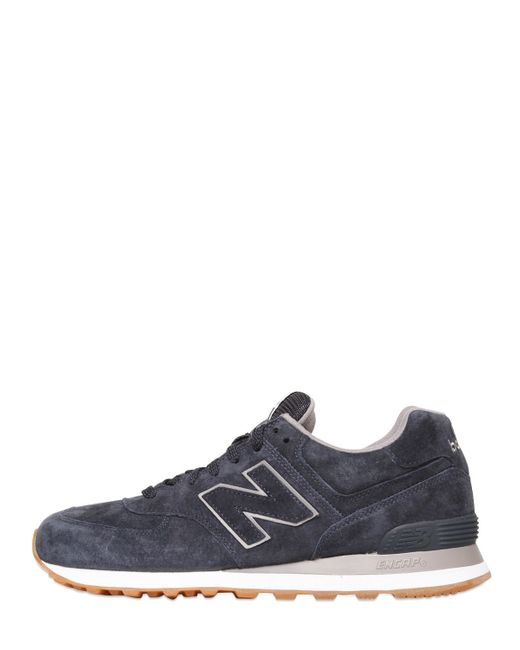 New Balance | Blue 574 Suede Sneakers | Lyst