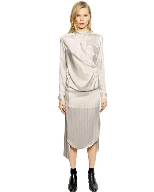 Each x Other   White Pinstriped Silk Satin Shirt Dress   Lyst