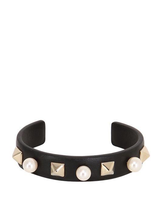 Valentino | Black Embellished Leather Bracelet | Lyst