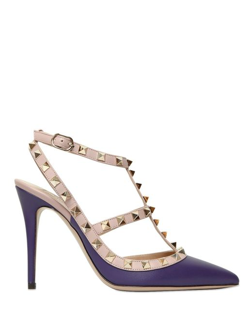 Valentino | Purple 100mm Rockstud Leather Pumps | Lyst