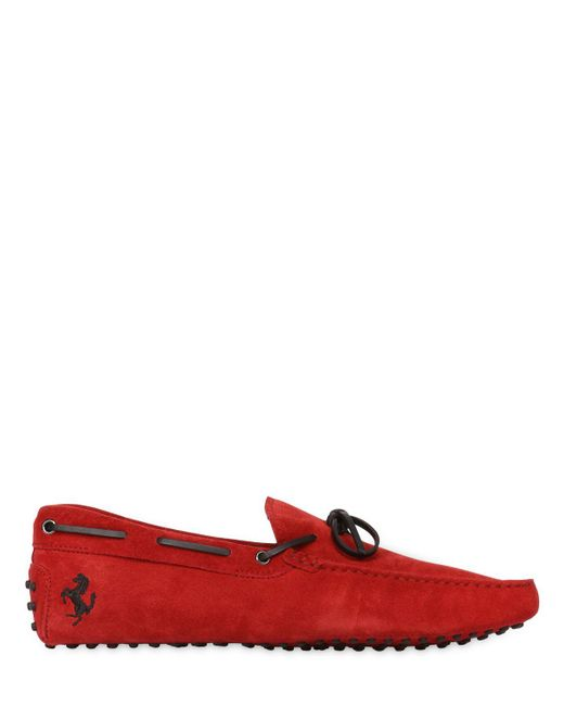 Tod's   Red New Gommini Suede Leather Driving Shoes for Men   Lyst