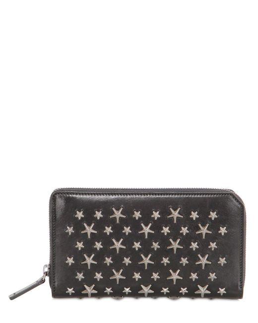 Jimmy Choo | Black Stars Studded Leather Zip Around Wallet | Lyst