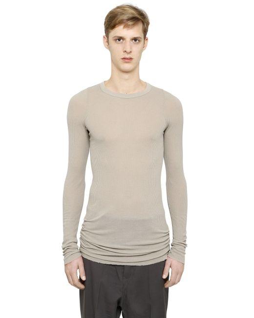 Rick Owens | Natural Ribbed Viscose & Silk T-shirt for Men | Lyst