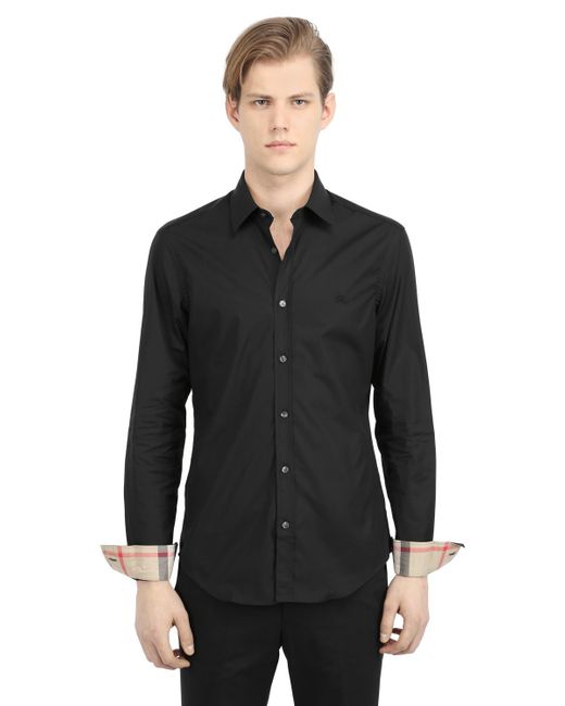 Burberry Brit | Black Stretch Cotton Poplin Shirt for Men | Lyst